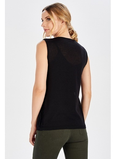 Peraluna Peraluna Dantel Detaylı Siyah Renk Kolsuz Kadın Triko Bluz Siyah